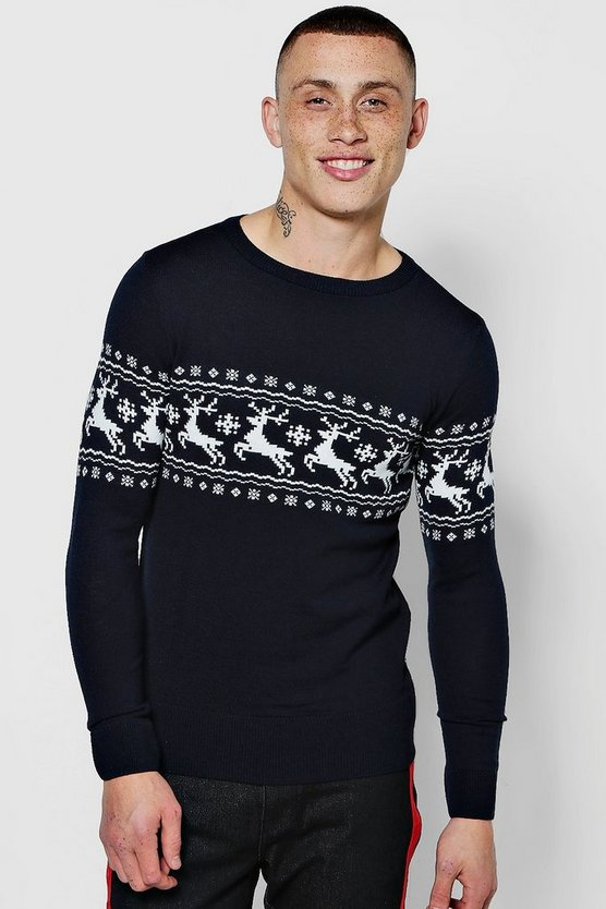 Muscle Fit Reindeer Fairisle Christmas Sweater