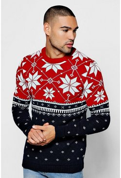 Mens Red Christmas Colour Block Fairisle Sweater