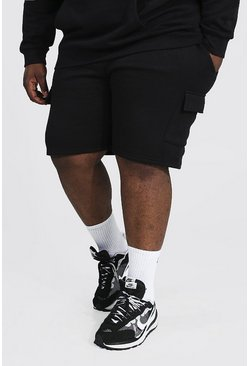 Plus Mid Length Basic Cargo Short, Black