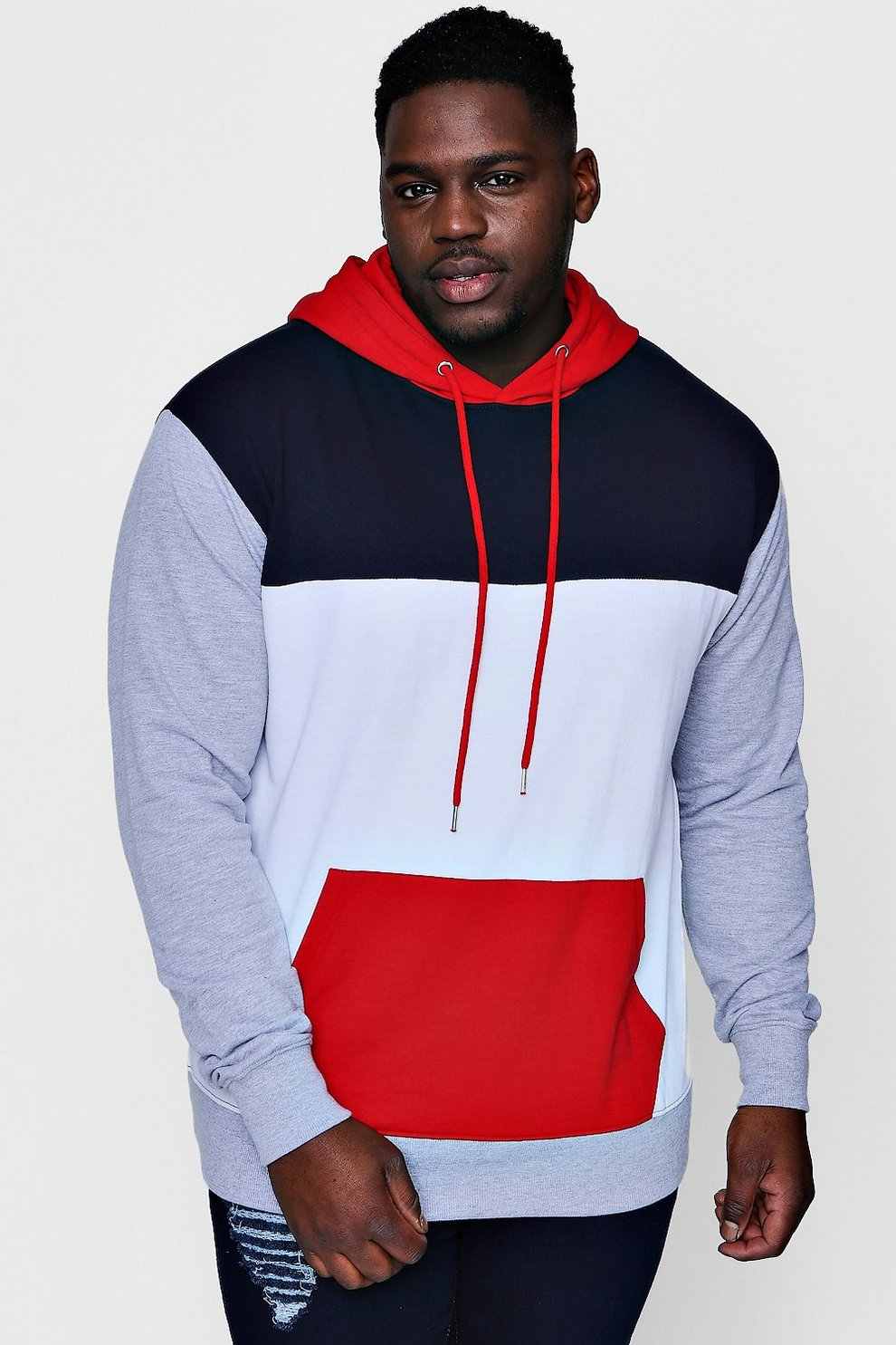 0e77b72057c5 Big And Tall Panelled Colour Block Hoodie - boohooMAN