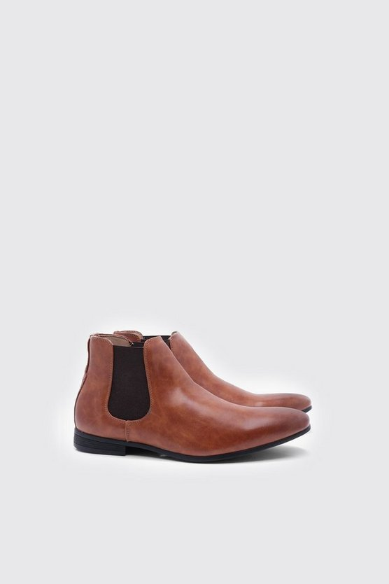 Mens Tan Leather Look Chelsea Boots