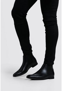 Black Faux Leather Chelsea Boots