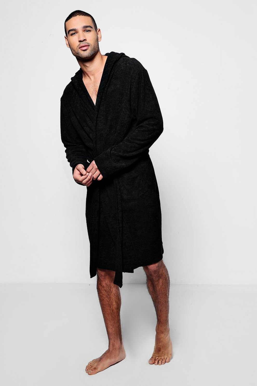 ec5b243f8f85 Black Hooded Dressing Gown In Towelling - boohooMAN