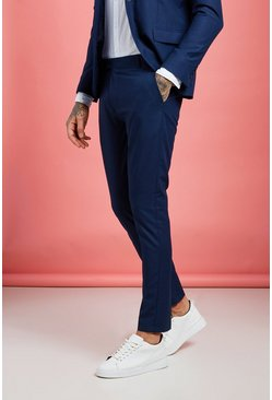 Mens Navy Skinny Fit Suit Pants