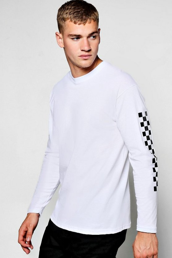 White Long Sleeve T-Shirt With Check Print