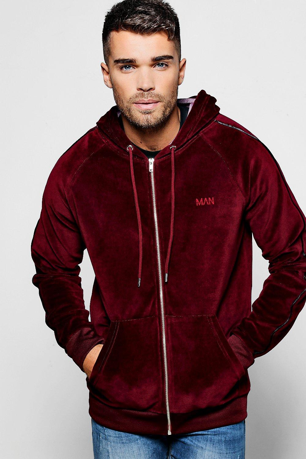 MAN Embroidered Velour Hoodie With Piping | boohooMAN UK