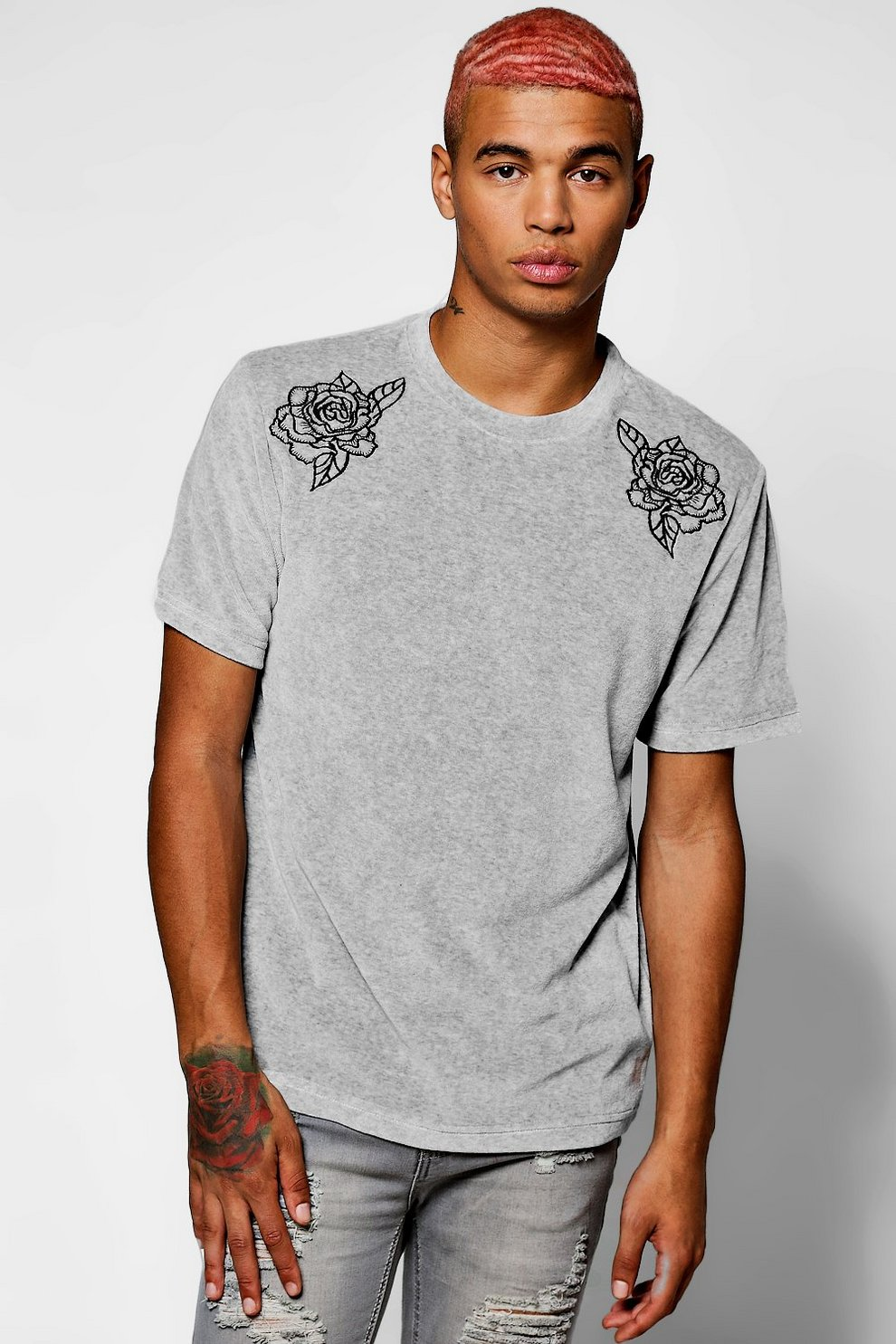 403fcc22 Mens Floral Embroidered Velour T-Shirt. Hover to zoom