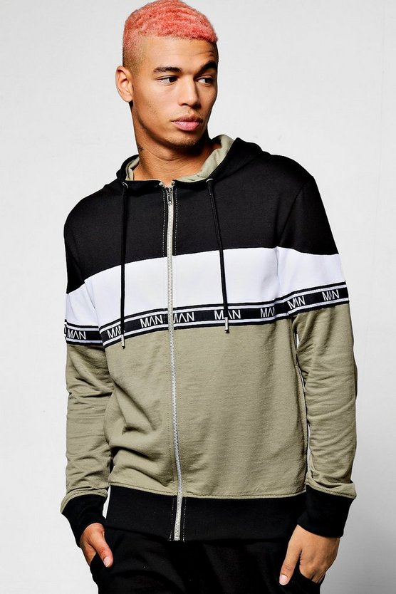 Mens Black Colour Block Hoodie With MAN Taping