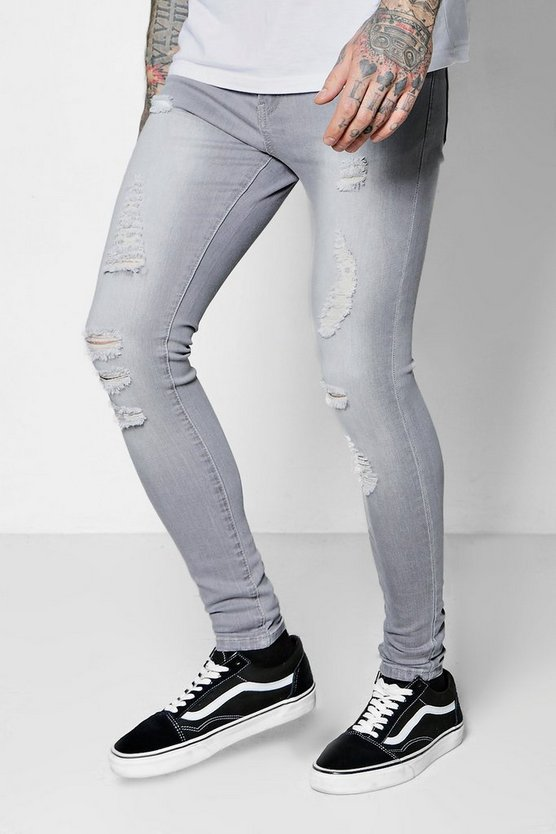 Grey All Over Ripped Spray On Skinny Jeans