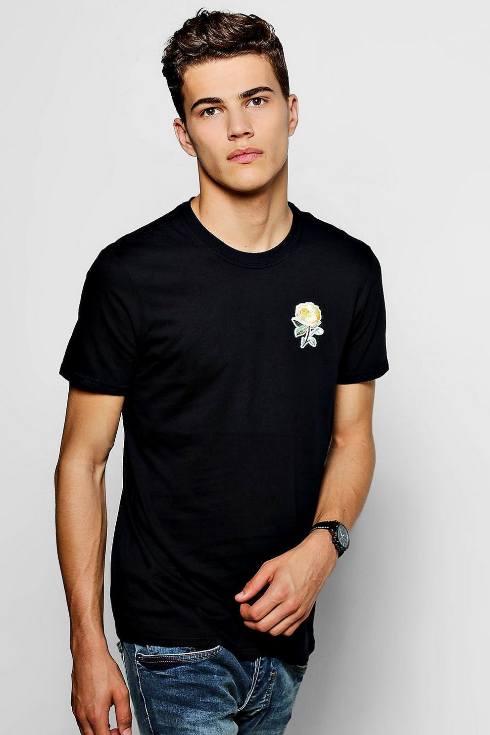 c57219c2 Mens Black Floral Embroidered T-Shirt. Hover to zoom