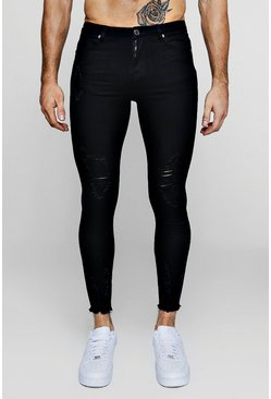 Black Super Skinny Jeans With Raw Hem