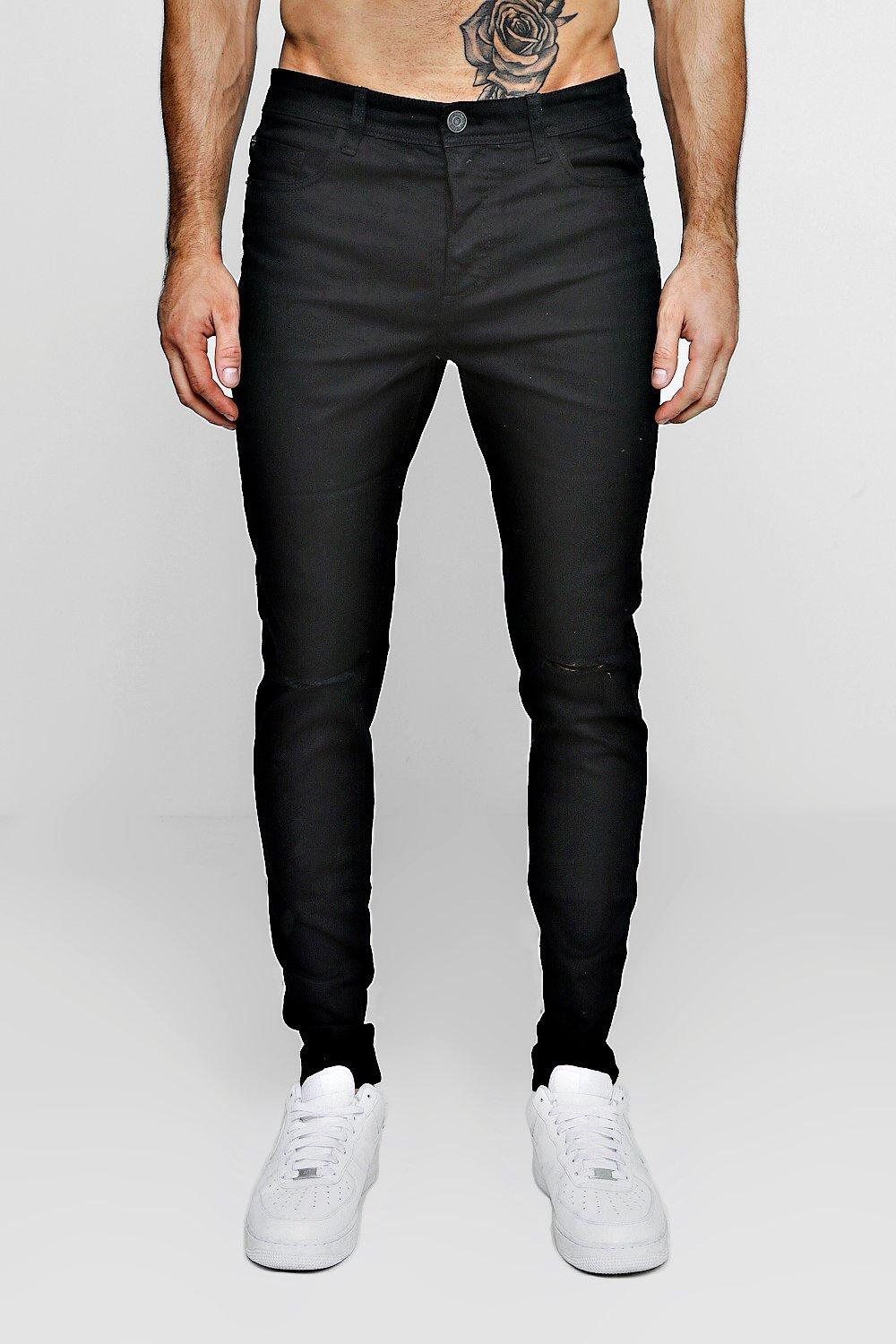 e00f314710a Mens Black Stretch Skinny Jeans With Ripped Knees. Hover to zoom