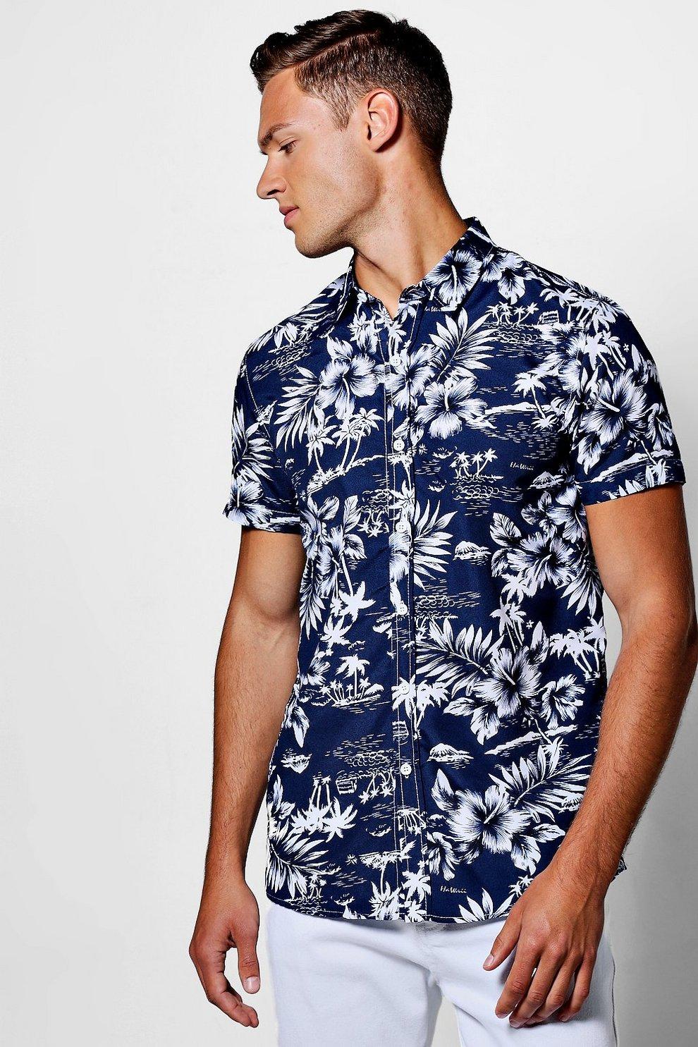 e14de47b Navy Tropical Floral Short Sleeve Shirt - boohooMAN
