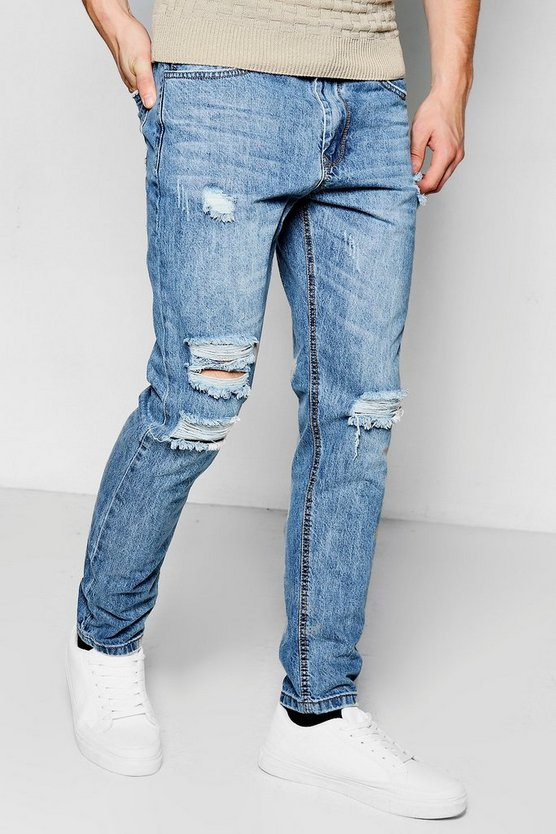 Mens Mid blue Tapered Fit Ripped Knee Denim Jeans
