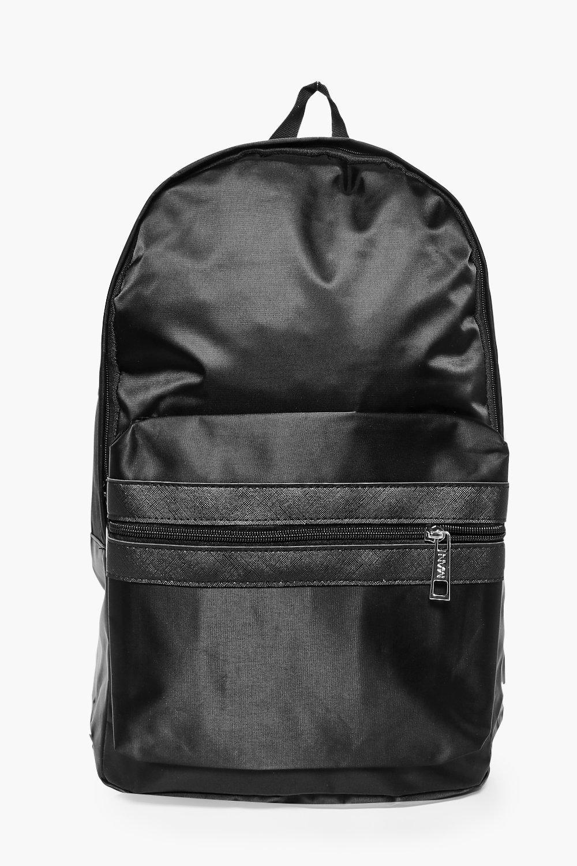 ab7156df1b Black Nylon Backpack With Contrast Trim - boohooMAN