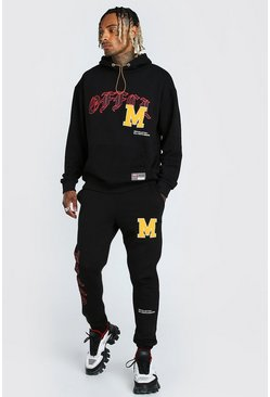 Black Oversized Official Varsity Printed Tracksuit