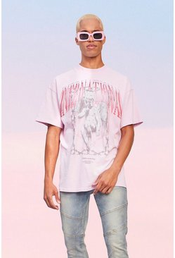Pink Oversized Extended Neck International Washed T-shirt