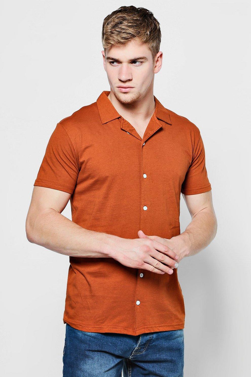3c89cc73ee21a5 Jersey Revere Collar Short Sleeve Shirt - boohooMAN