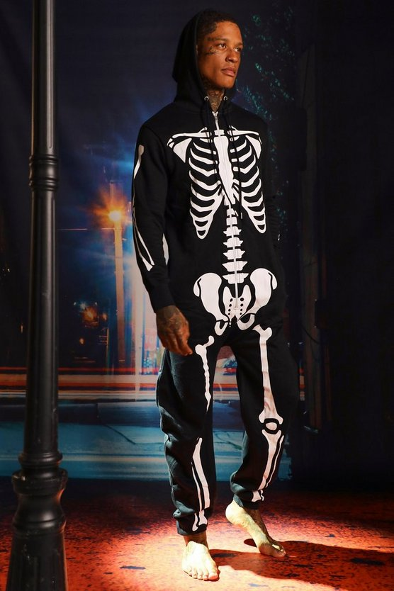 Mens Halloween Black Skeleton Onesies