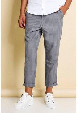 Grey Pinstripe Cropped Dress Pants