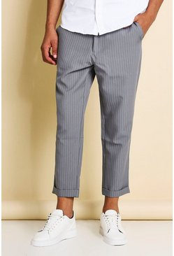 Grey Pinstripe Cropped Dress Pants