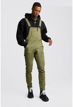 Mens Khaki Slim Fit Denim Overalls