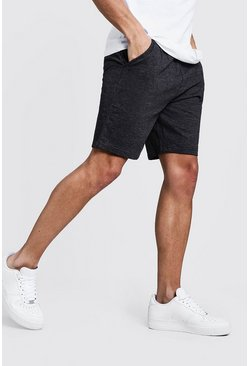 Charcoal Basic Mid Length Jersey Shorts