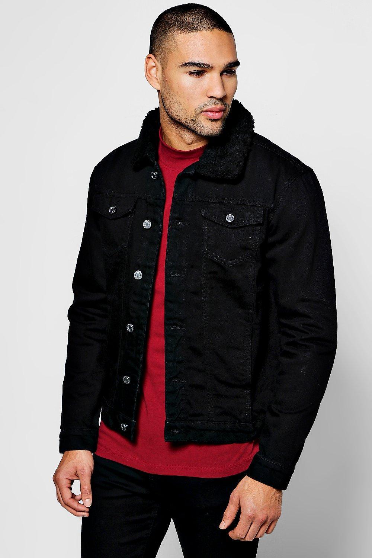 Black Borg Collar Denim Jacket   Topshop