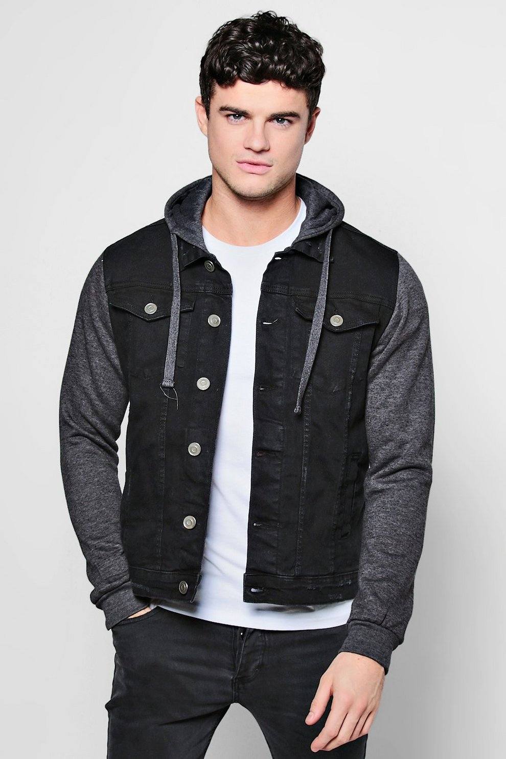 6871ba08f Denim Jacket With Jersey Hood and Sleeves - boohooMAN