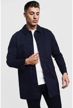 Mens Navy Single Breasted Button Through Cotton Mac