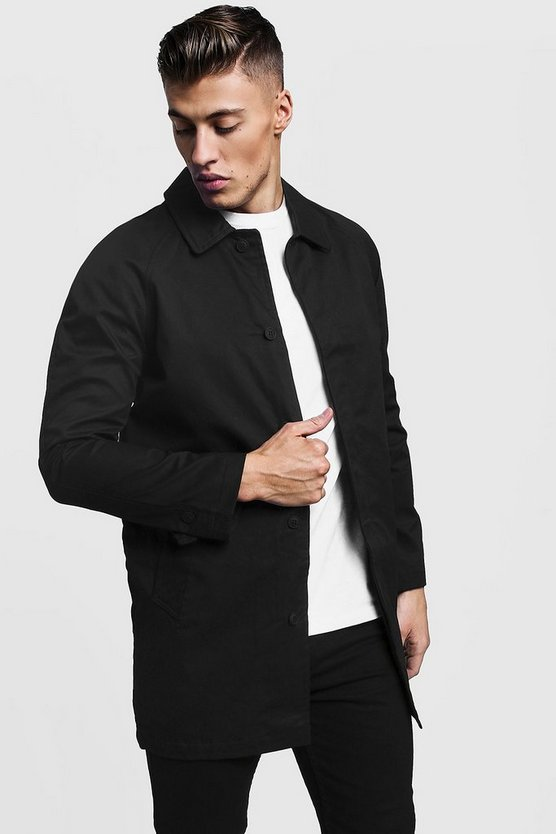Mens Black Single Breasted Button Through Cotton Mac