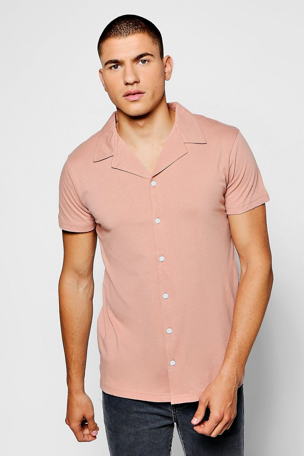 bd889e669f2313 Short Sleeve Revere Collar Jersey Shirt. Hover to zoom