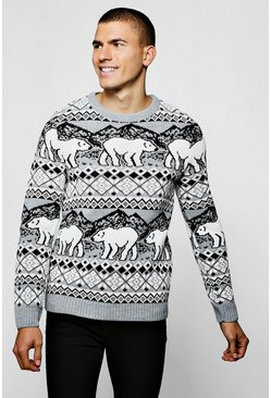Christmas Polar Bear Fair Isle Sweater In Grey