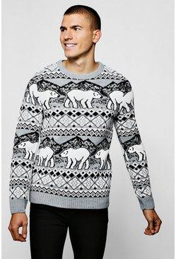 Christmas Polar Bear Fairisle Sweater In Grey