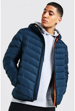 Mens Navy Quilted Zip Through Jacket With Hood