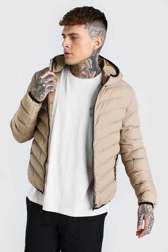 Mens Stone Quilted Zip Through Jacket With Hood