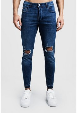 Mens Skinny Fit Mid Blue Jeans With Ripped Knees