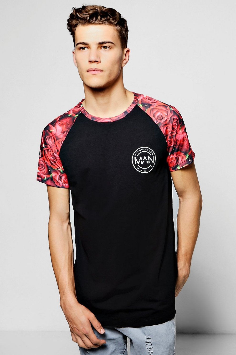 a731be450 Mens Red MAN Floral Raglan Sublimation T-Shirt. Hover to zoom