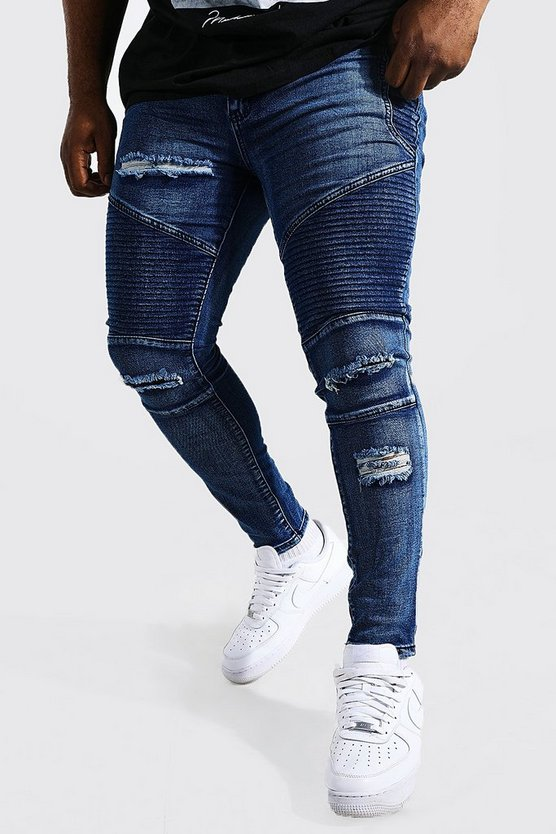 Mens Big And Tall Blue Skinny Fit Ripped Biker Jeans