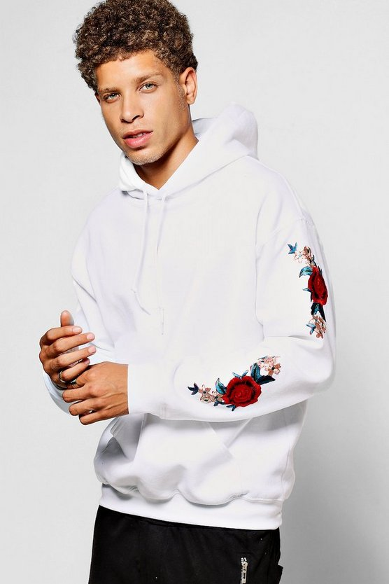 Mens White Twin Rose Sleeve Embroidered Hoodie