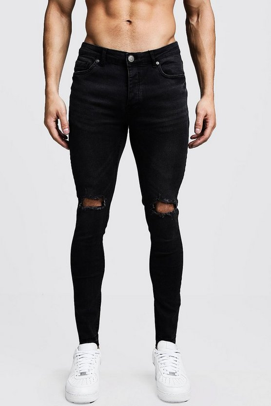 Mens Black Skinny Fit Ripped Knee Jeans