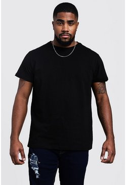 Black Plus Size Longline Basic T-Shirt
