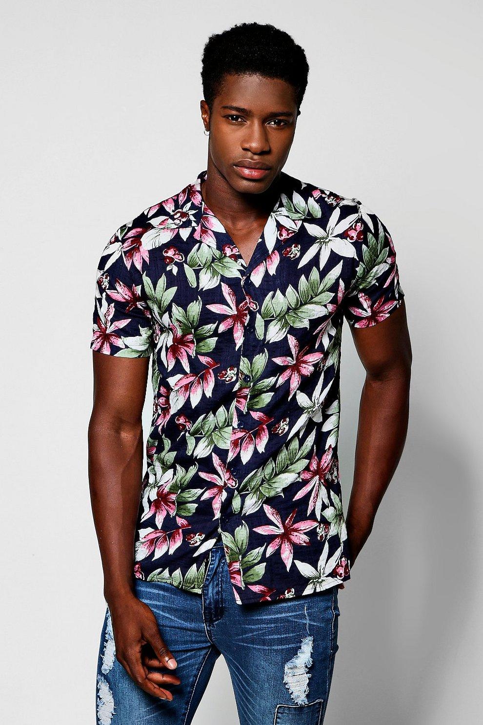 ec5a4598 Navy Tropical Floral Print Short Sleeve Revere Shirt - boohooMAN