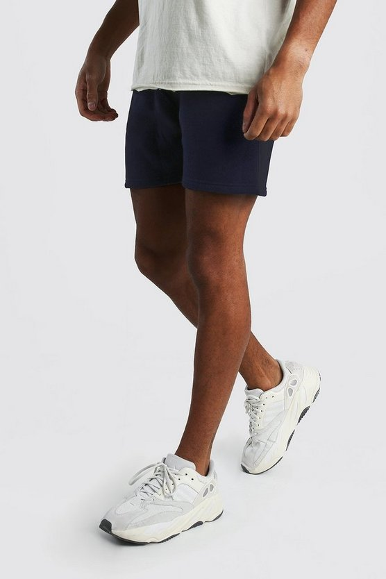Mens Navy Short Length Jersey Shorts
