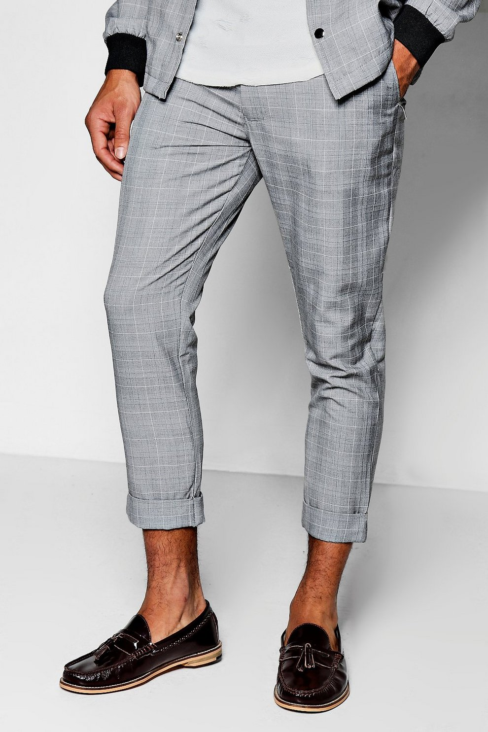 9b44c4fb4e1fb Grey Check Skinny Fit Cropped Trousers - boohooMAN