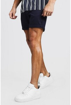 Mens Navy Slim Fit Chino Short