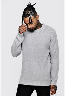 Mens Grey Crew Neck Fisherman Knit Sweater