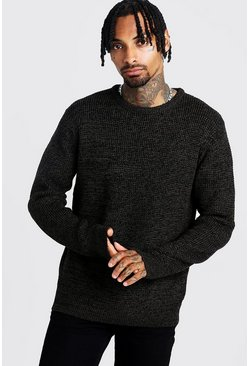 Mens Khaki Crew Neck Ribbed Jumper with Twisted Knit