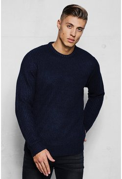 Mens Navy Crew Neck Fisherman Knit Jumper