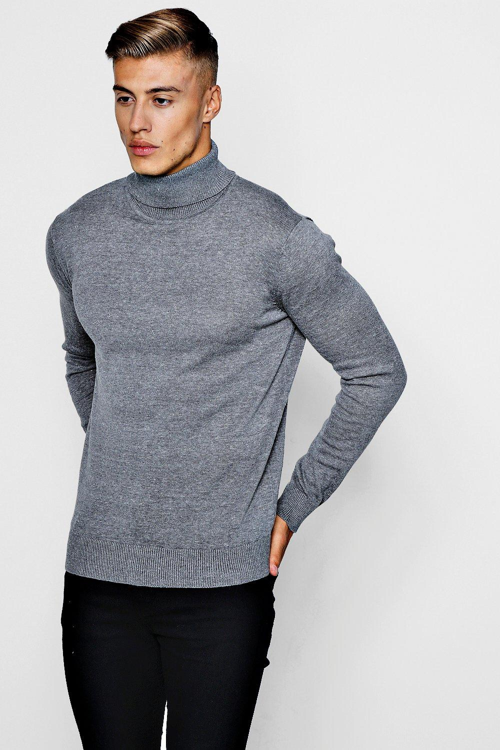 Long Sleeve Knitted Roll Neck Sweater | boohooMAN